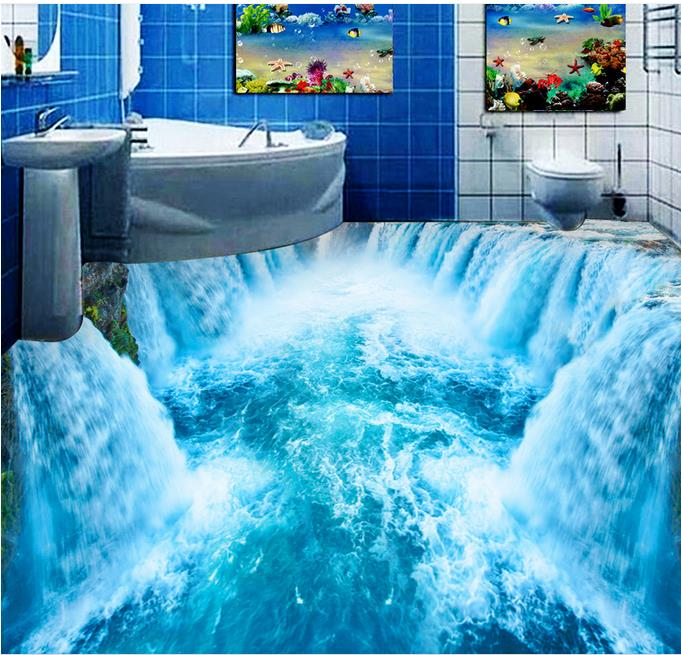 3d flooring waterproof wall paper custom 3d flooring waterfall 3d stereoscopic wallpaper 3d floor for living room self adhesive free shipping marble texture parquet flooring 3d floor home decoration self adhesive mural baby room bedroom wallpaper mural
