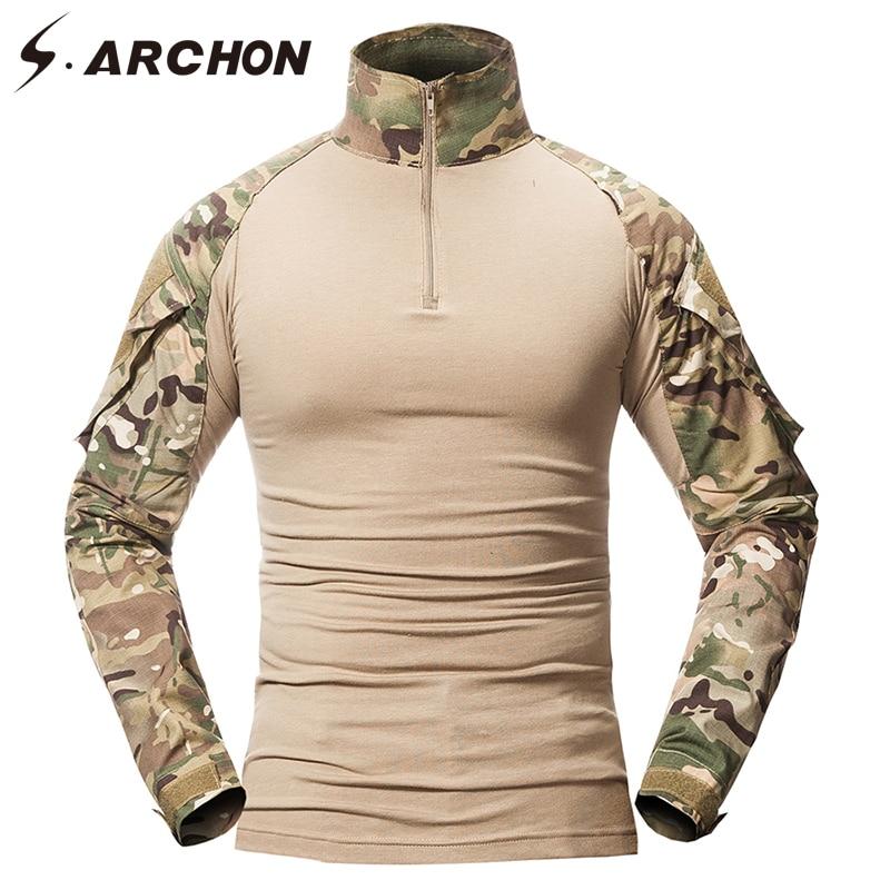 S. ARCHON Military Camouflage Shirt Männer Multicam Einheitliche Taktische Langarm T-Shirt Airsoft Paintball Kleidung Armee Combat Shirt