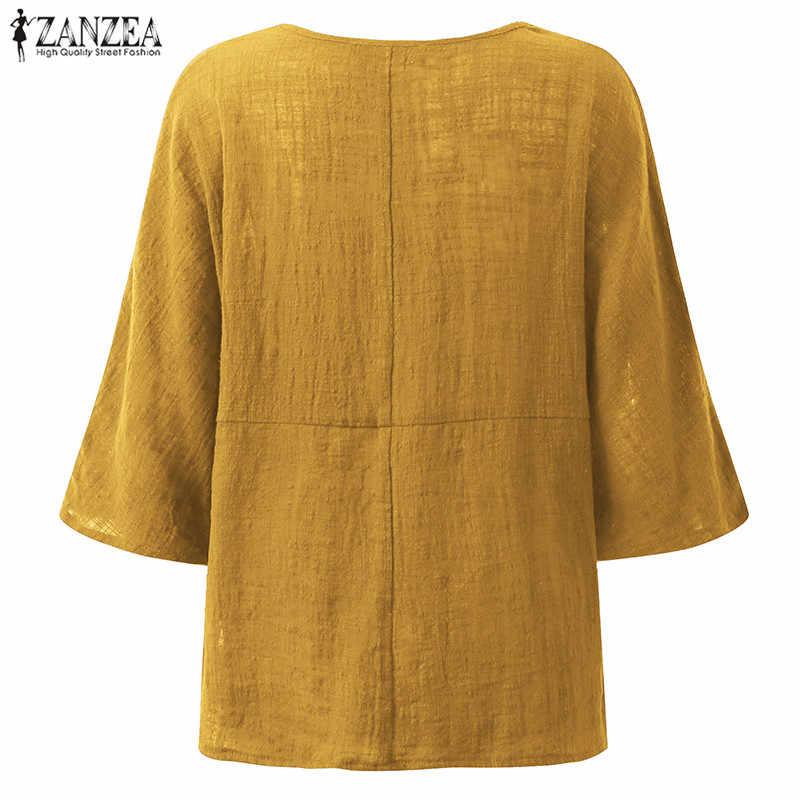 ZANZEA 2019 女性ヴィンテージクルーネック 3/4 スリーブコットンリネンだぶだぶブラウス秋カジュアルルースソリッドシャツ特大トップス Blusas