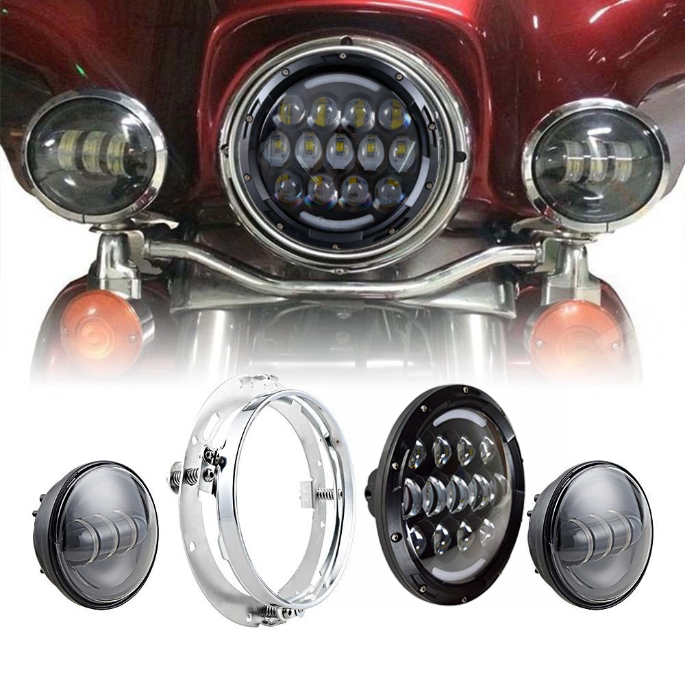 7 LED Daymaker Headlight + LED Fog Lights Auxiliary Passing Lamps For Motorcycle Harley-Davidson Street Glide with Bracket Ring 7 inch led headlight motorbike suit 7headlight monting ring fog lights for harley davidson electra glide road king street glide
