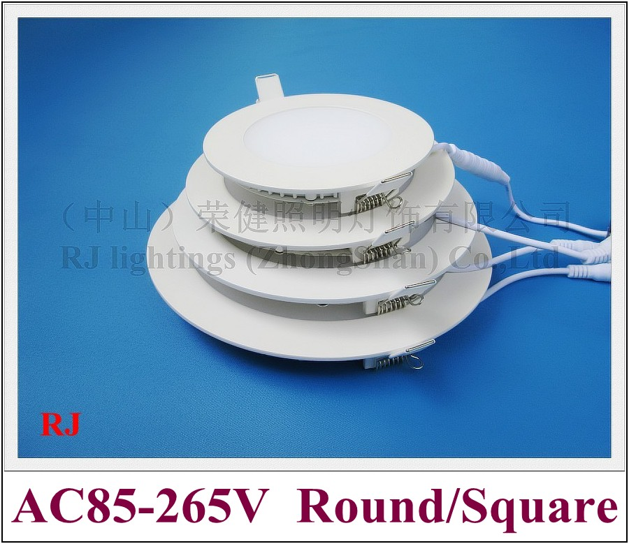 6w 12w 18w 24w Led Recessed Ceiling Flat Panel Down Light: Recessed LED Panel Light Flat Lamp Round Ceiling Down
