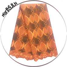 2018 African Lace Fabric Gold High Quality Beading Nigerian Mesh Wedding French Orange For Aso Ebi