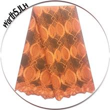 2018 African Lace Fabric Gold High Quality Beading Nigerian Lace Mesh Fabric Wedding French Orange Lace Fabric For Aso Ebi цена в Москве и Питере