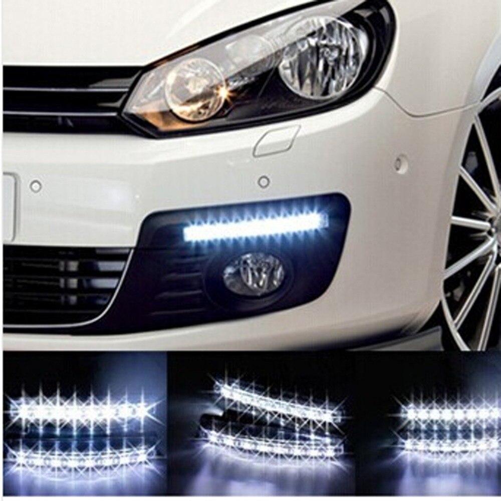 Car Auto 12 LED Daytime Running Day Light DRL Driving Head Lamp White 2 Pcs