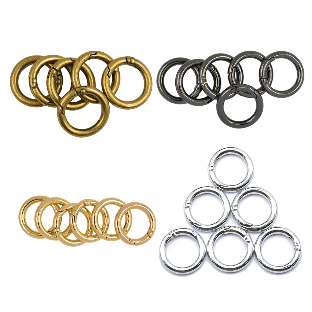 6Pcs Backpack Plated Alloy Round Spring Snap Hooks Clip Keychain Ring For Key Chains Small Dog Leashes Climbing Accessories