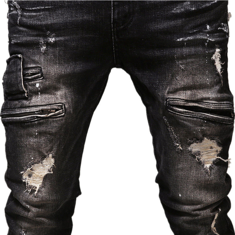 Loldeal High Quality Mens Ripped Biker Jeans Cotton Black Slim Fit Motorcycle Jeans Men Vintage Distressed Denim Jeans Pants