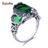 Three Grain Of Gem Women Unique Charm Jewelry 925 Sterling Silver Ring Fashion Luxury Emerald Rings