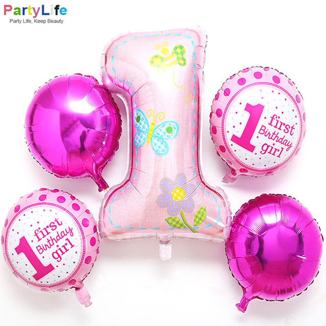 Pink 1st Birthday Party Balloons Sets Aluminium Foil Numbers Round