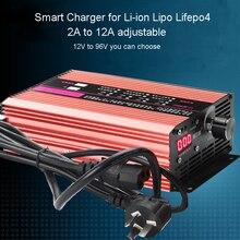 72V 60V 67.2V 71.4V Li ion LiPo 48V Lifepo4 ładowarka akumulatorów litowych Curren regulacja 2A 5A 10A 12A szybkie ładowanie ebike 12S 20S 24S