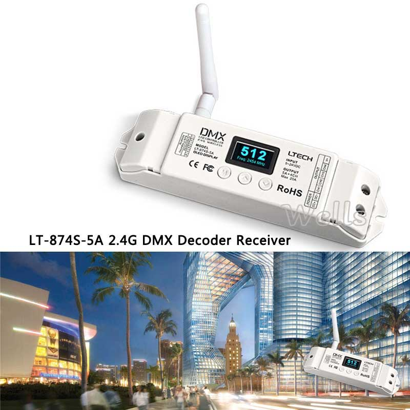 LT-870S DMX512 transceiver LT-874S-5A 4 CH DMX Decoder OLED Display 2.4G Wireless controller for LED RGBW Strip
