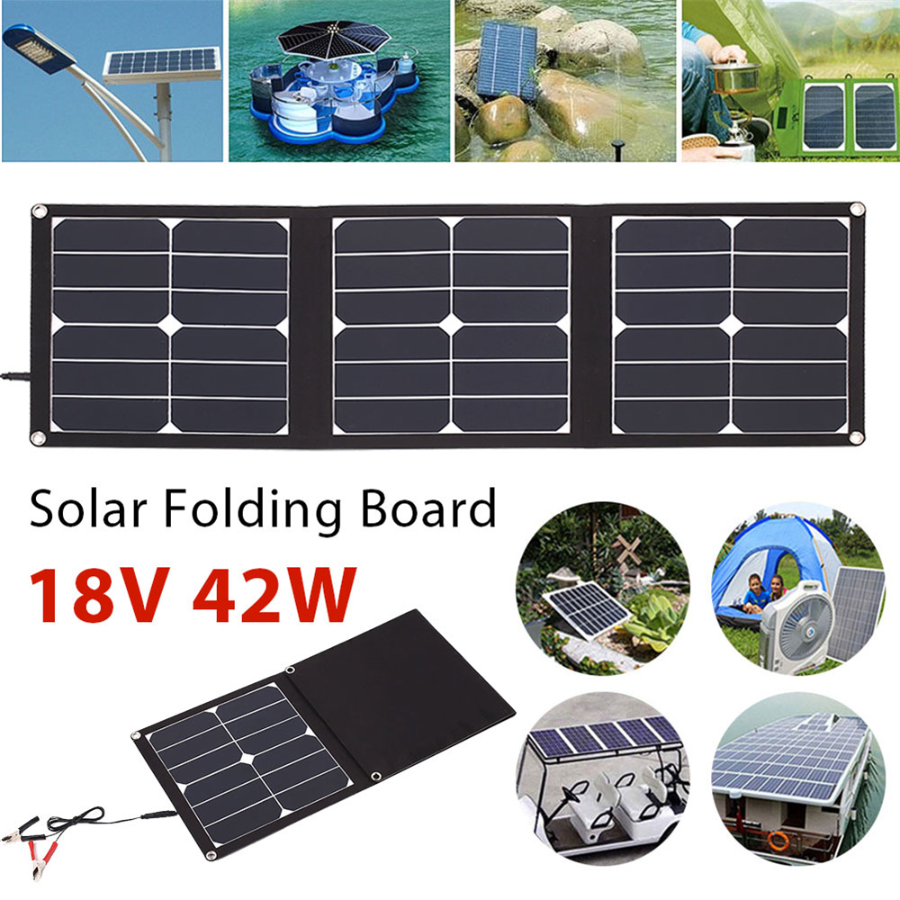 Gizcam Folding Solar Panel Emergency Power Supply Durable USB+DC Port 42W 18V Solar Light Phone Charger Waterproof Portable