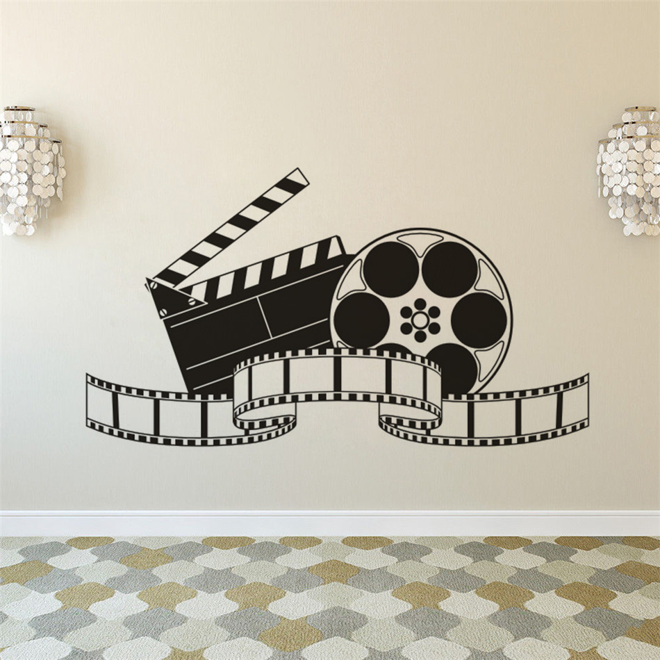 Home Decor Home & Garden Expressive Home Cinema Roon Wall Sticker Film Movie Room Decoration Movie Playvinyl Wall Decal Cinema Movie Projector Wall Poster Az150 To Reduce Body Weight And Prolong Life