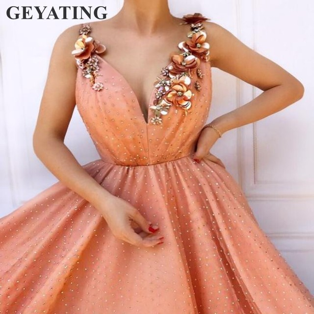 40b92d1277d Light Orange Pearls Tulle Prom Dresses 2019 New V-Neck A-line 3D Flowers  Party Gala Dress Elegant Long Women Formal Evening Gown