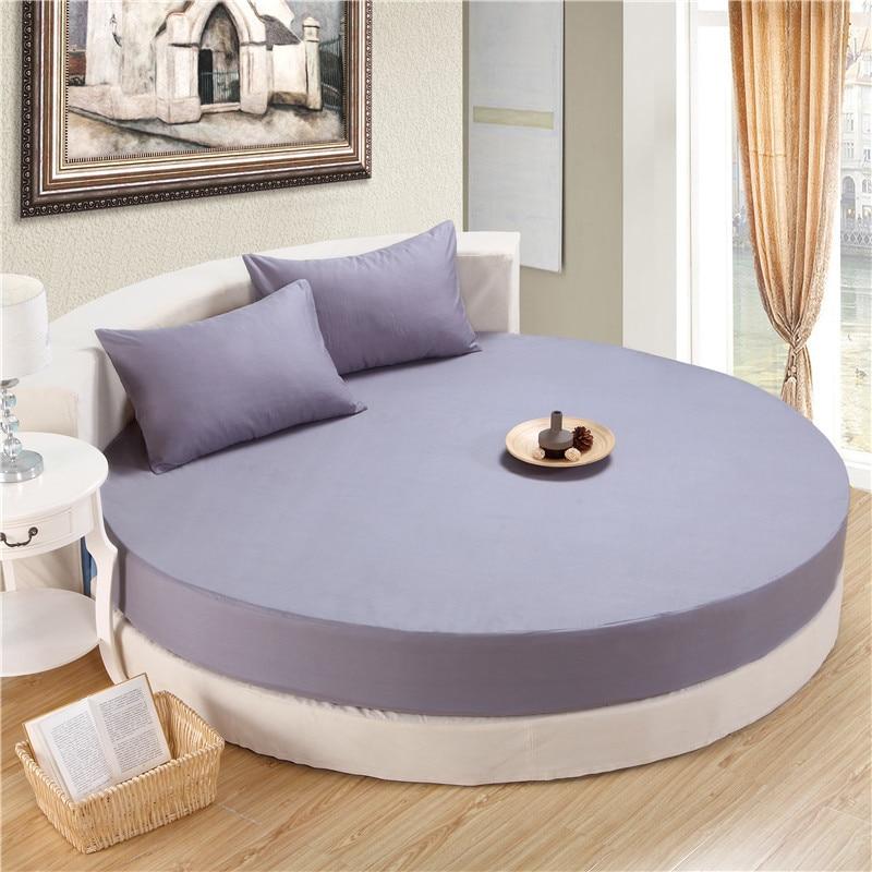 US $33.66 10% di SCONTO|Pezzi di colore solido 100% cotone rotondo montato  lenzuola set lenzuola letto rotondo biancheria da letto set ...
