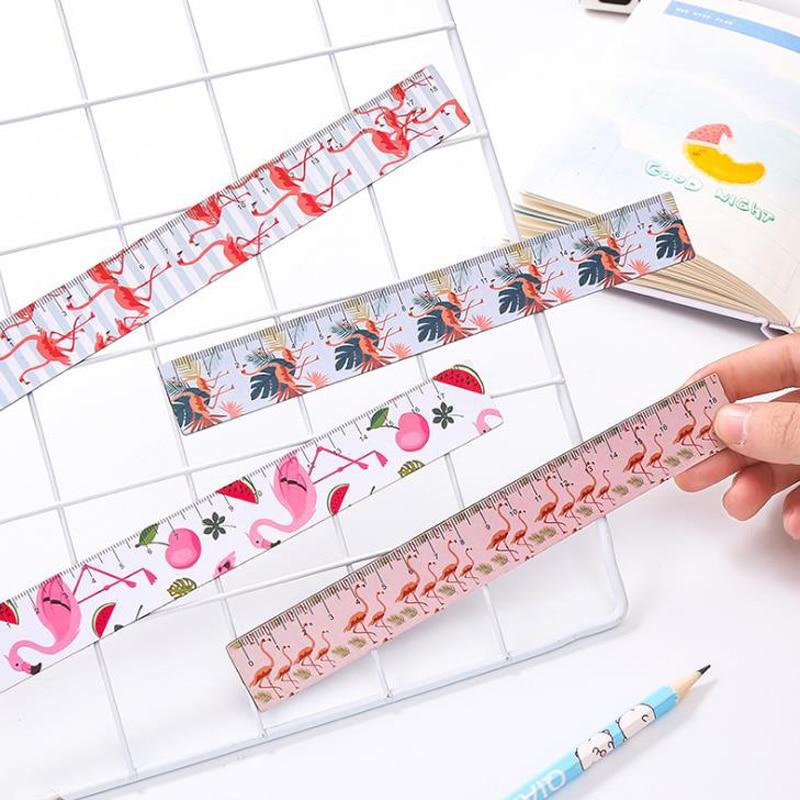 1 Pcs Kawaii 18cm Animal Pink Panther Flamingo Pig Sakura Straight Ruler Magnetic Bookmark Ruler Painting Learning Stationery