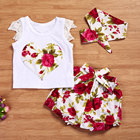 3pcs Sweet Baby Girls Clothing Set Fashion Heart Shape Flower Printed T-Shirt+Short Pants+Headband Summer Outfit Costumes Set