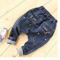 Chegada nova Crianças Jeans Meninos Meninas solta Calça Jeans Crianças Calça Jeans Moda Jeans Com bolso Com zíper para Crianças Primavera Outono harem pants