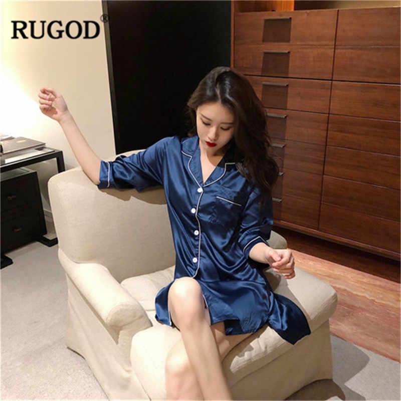 RUGOD Mùa Hè Phụ Nữ Đồ Ngủ Rắn Lần Lượt Xuống Cổ Áo Phong Cách Lỏng Lẻo phụ nữ Về Nhà Chiều Dài Trung Bình пижама