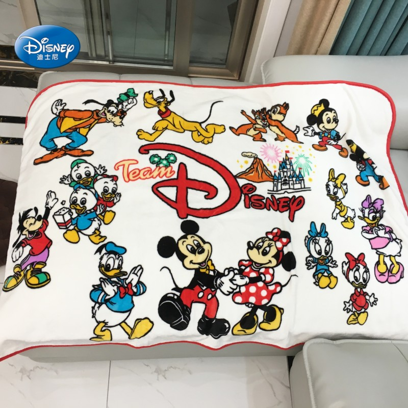 Team Disney Red and White Black Mickey Minnie Mouse Plush Fuzzy Blanket Throw 100x140cm for Baby Toddlers on Crib/Sofa/Plane(China)