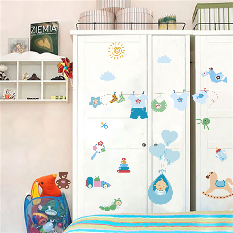cartoon baby clothing toys wall stickers bedroom nursery home decorative wall decals pvc mural art diy posters gifts in Wall Stickers from Home Garden