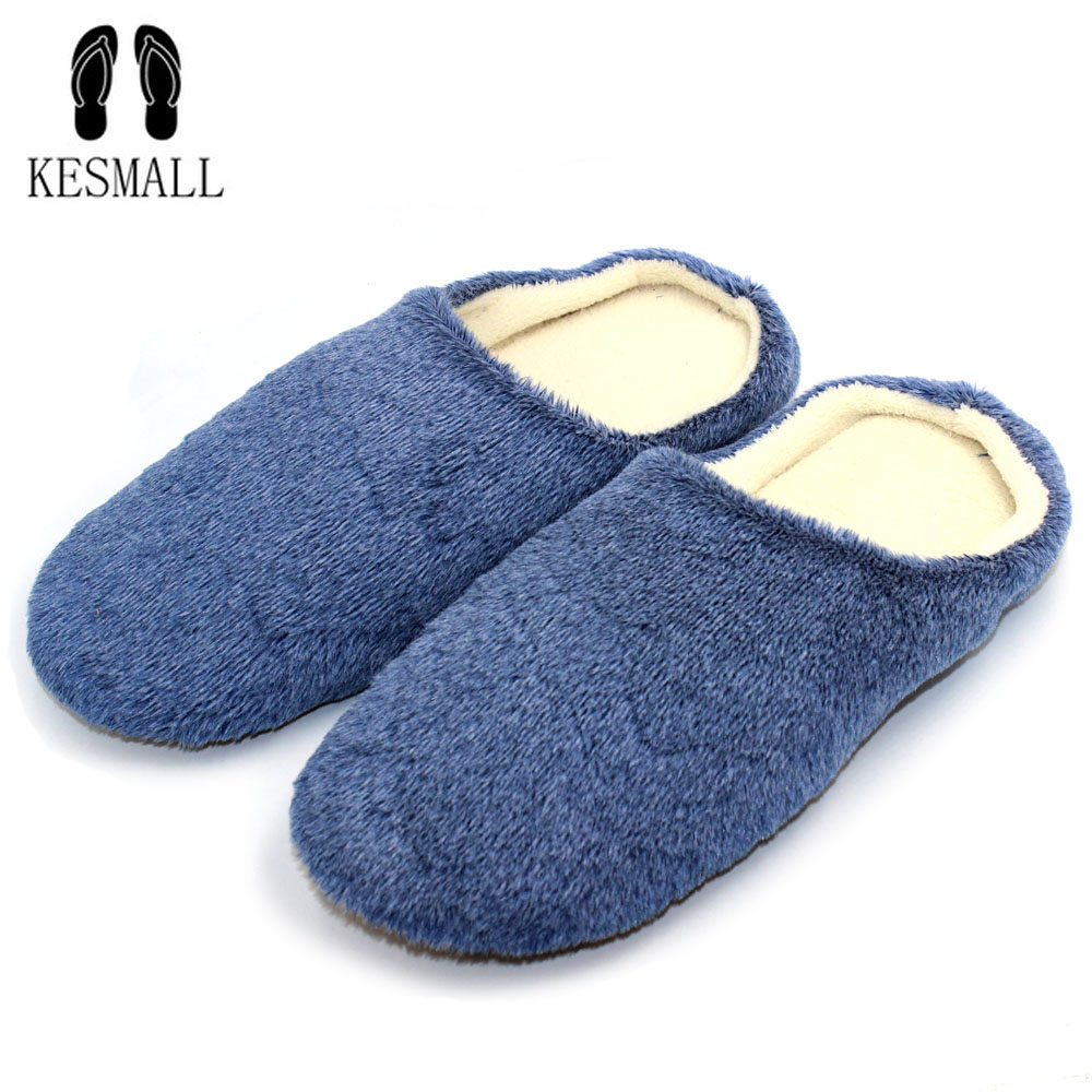 KESMALL Men Shoes Winter Slippers Warm Soft Slippers Non-slip Home Furry Shoes Slippers Floor Shoes Blue Soft Home Shoes W314