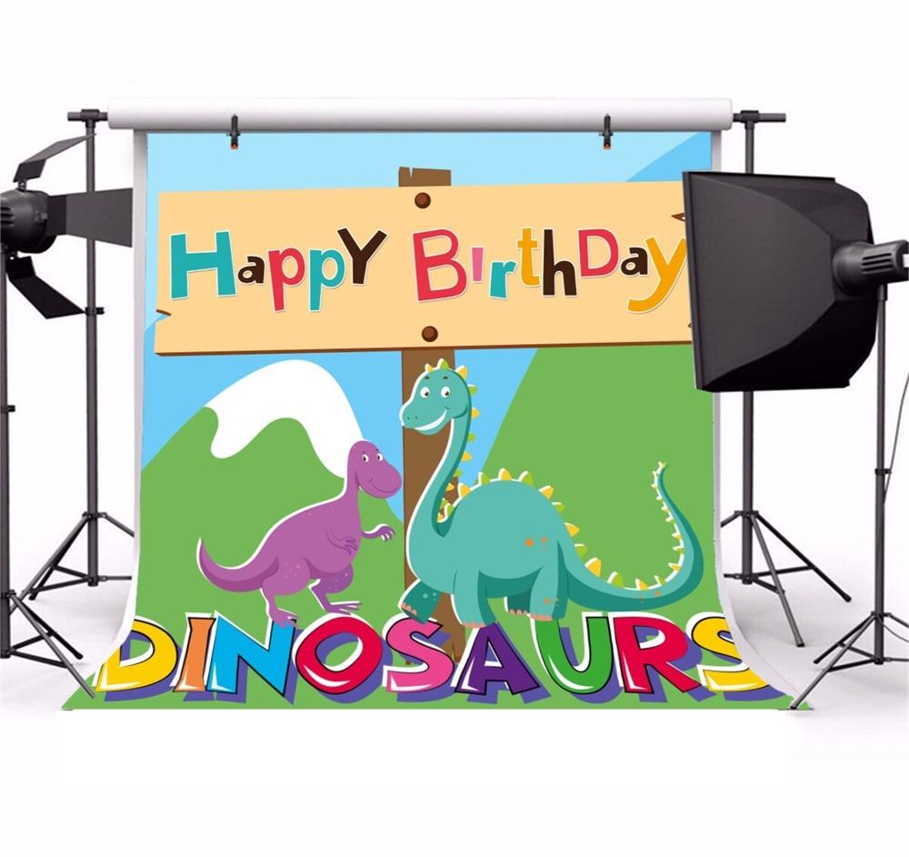 Laeacco Cartoon Dinosaurus Baby Verjaardag Kind Feest Fotografische - Camera en foto - Foto 2