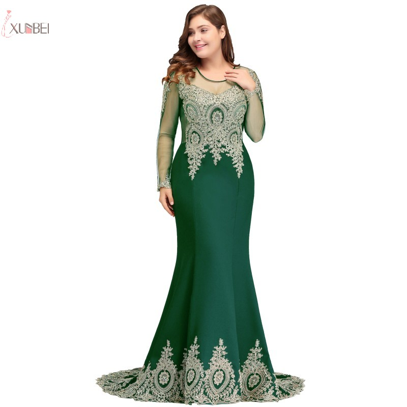 Elegant Green Mermaid Plus Size Long Prom Dresses 2019 Lace Applique Beaded Prom Gown Vestido de gala