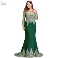 Elegant Green Mermaid Plus Size Long Prom Dresses 2019 Lace Applique Beaded Prom Gown Vestido de gala
