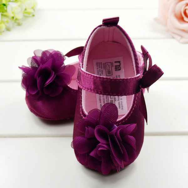 Red Flower Princess Soft Baby Shoes For