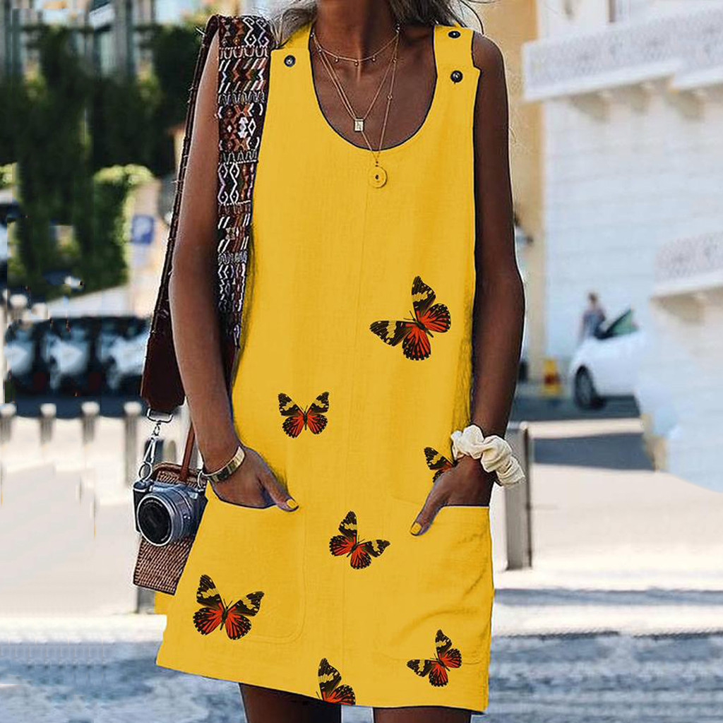Women O-Neck Sleeveless Shoulder Clasp Butterfly Print Cotton And Linen Dresses Casual Dress Summer Woman Plus Size Knee Dresses