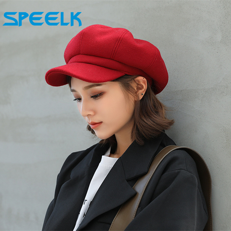 Brand New Woolen Octagonal Hat Women Autumn Winter New Wool Beret Caps Male Casual Painter Hats Female Solid Color Beret Hat