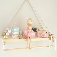 Nordic Baby Room Wooden Beads Wall Shelf Storage Wall Decorations Photography Props Decor Organization Hanger Christmas Gifts