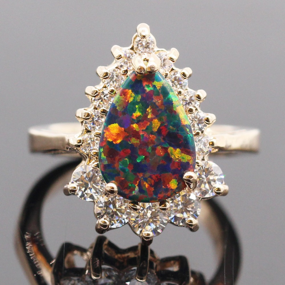 Hot Sell!Drop Fire Opal Ring 2015 Fashion Jewelry 18K Gold Filled White Crystal Sapphire Woman Rings High quality Cute Gift