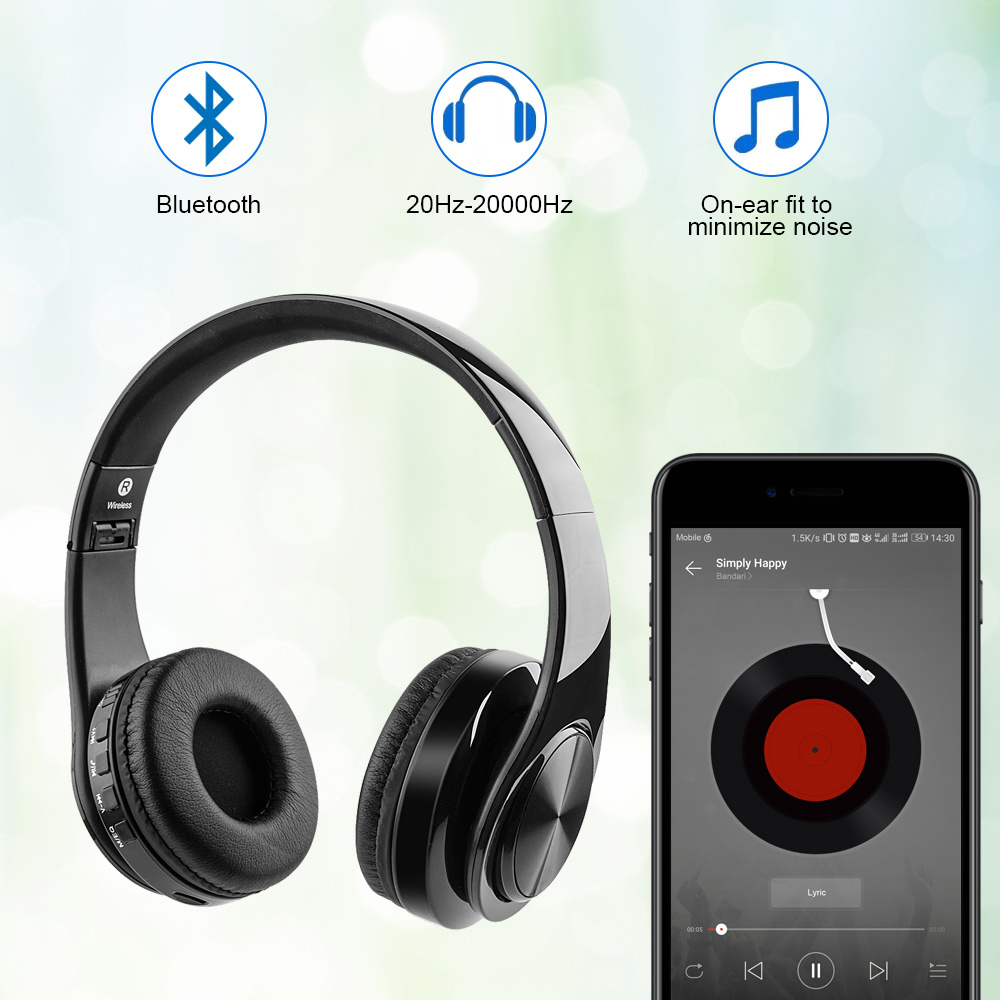 Hi-fi Bluetooth Stereo Wireless Headset With Tf Card Input Aux Line For Pc Mobile Tv Bluetooth 4.2 Wireless Headset Bluetooth Earphones & Headphones