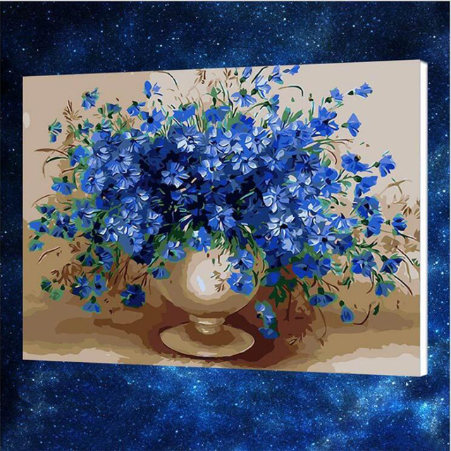 50x65cm Blue Flower Vase Canvas Painting By Numbers Painting Diy