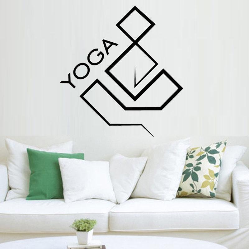 Yoga Geometric Design Vinyl Wall Decal for Yoga Studio Zen Buddhism ...