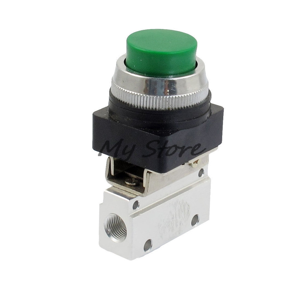 1/8 PT Thread 2 Position 3 Way High Push Green Button Momentary Pneumatic Valve MOV-321PPL Mechanical valve jm 322pp 13mm thread 3 2 way green flat push button pneumatic mechanical valve page 2