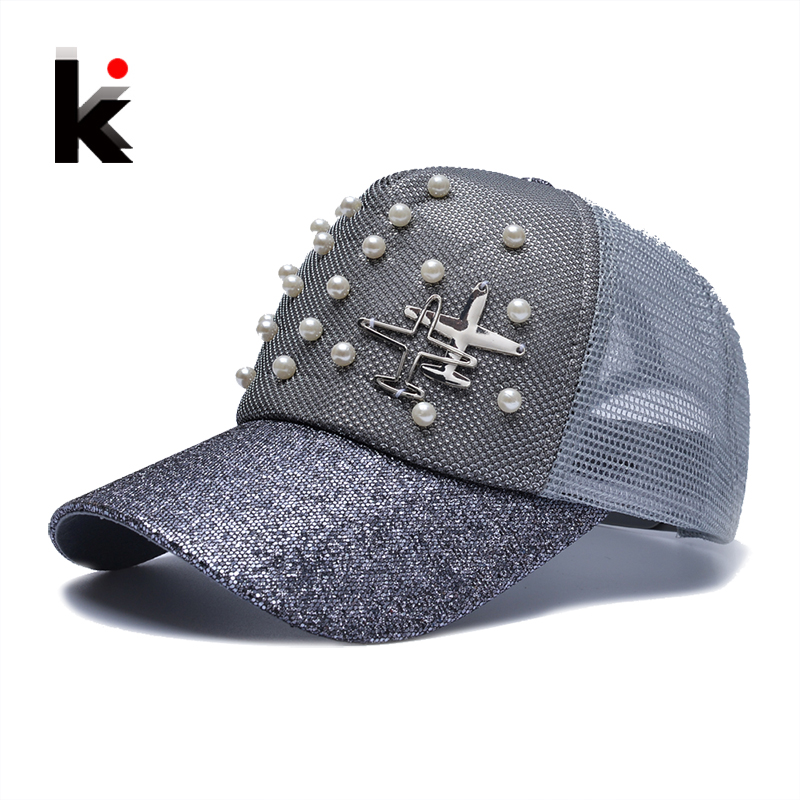Snapback Girl's Trucker Cap Breathable Mesh Metal Aircraft Beads Sun Hats Summer Baseball Caps For Women  Hip Hop Bone Gorras люстра divinare diana 8111 01 lm 6
