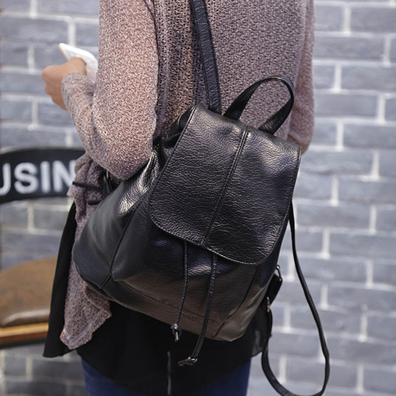 2016 Women Simple Style Backpack Fashion PU Leather Black School Bag for Girls Large Capacity Shoulder Travel Bag цена и фото
