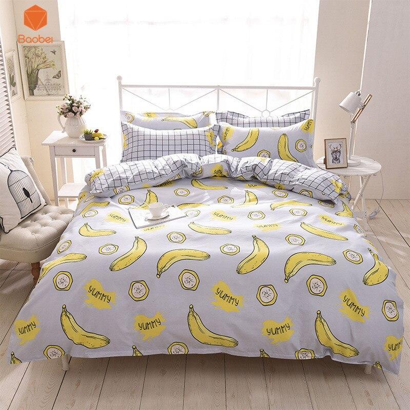 3/4pcs Banana Polyester Bedding Sets Duvetcover Setwinter Flat Bedsheet Pillowcase Queen King Bedlinen Bedclothes Sj115 Bedding