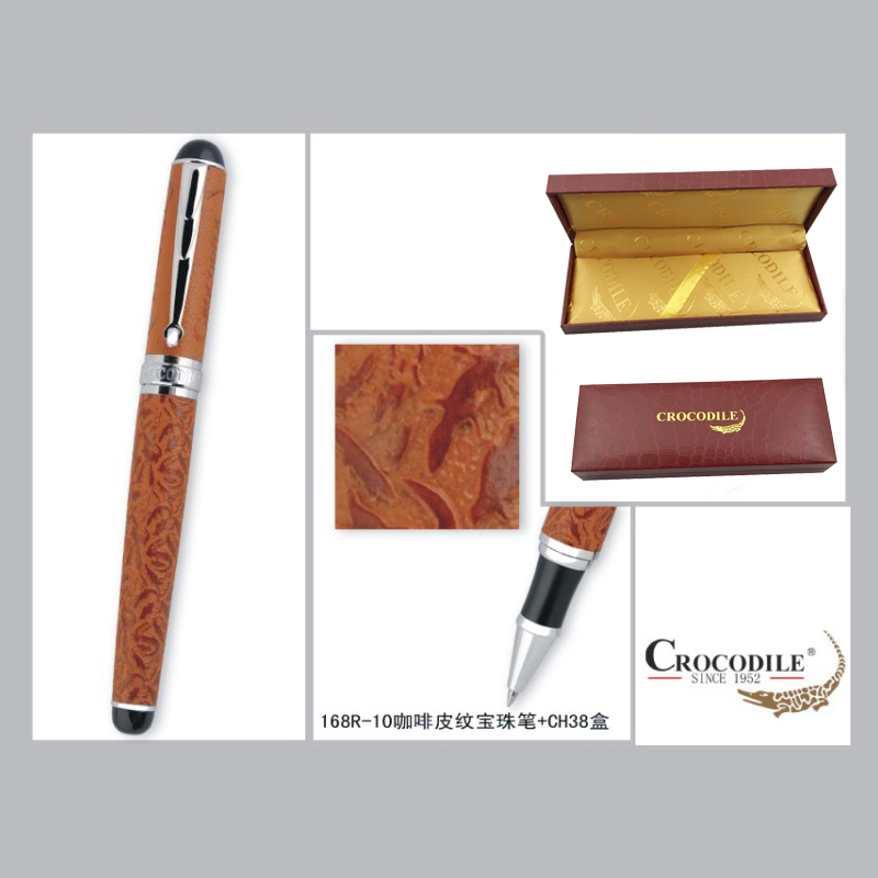 Crocodile 168 Luxury Coffee and Silver Crocodile Rollerball/Ball Point/Roller Ball/Gift/Ballpoint Pen Free Shipping Pens advanced roller ball pen jinhao chinese dragon bronze white with black heavy gife pen