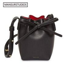 Newest MANSURSTUDIOS MINI bucket bag mansur women Split leather shoulder bag, gavriel lady cross freeshiping