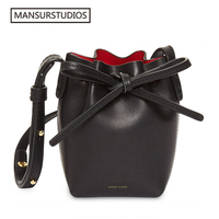 Newest MANSURSTUDIOS MINI bucket bag mansur women Split leather MINI shoulder bag, gavriel lady leather cross bag, freeshiping