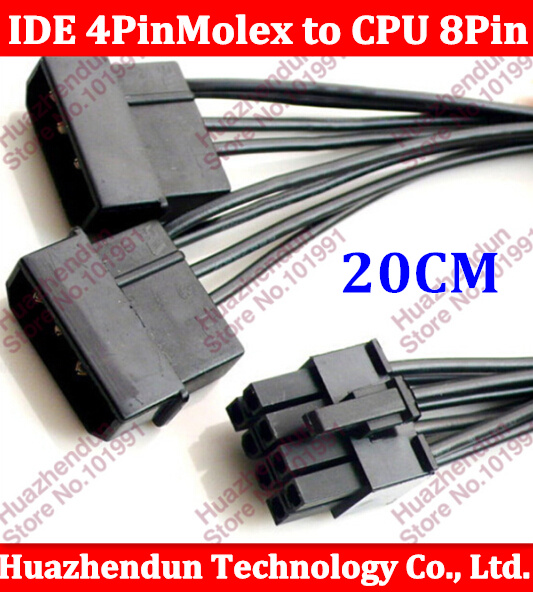 все цены на 2pcs/lot 20CM PC Server Internal Dual 2 IDE Molex to CPU 8Pin 8p Converter Power Lead Cable Cord 18AWG Wire 15cm онлайн