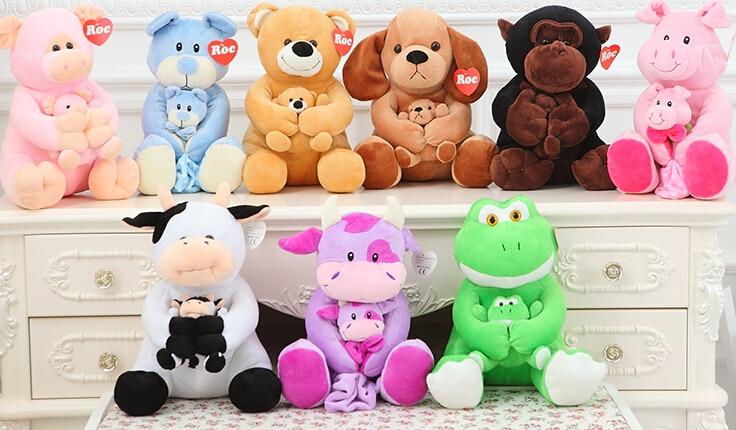 Cute Animal Plush Toy Doll Mother Holding Green Velvet South Korea Super Soft Lint-Free Afford The Ball Toys For Children