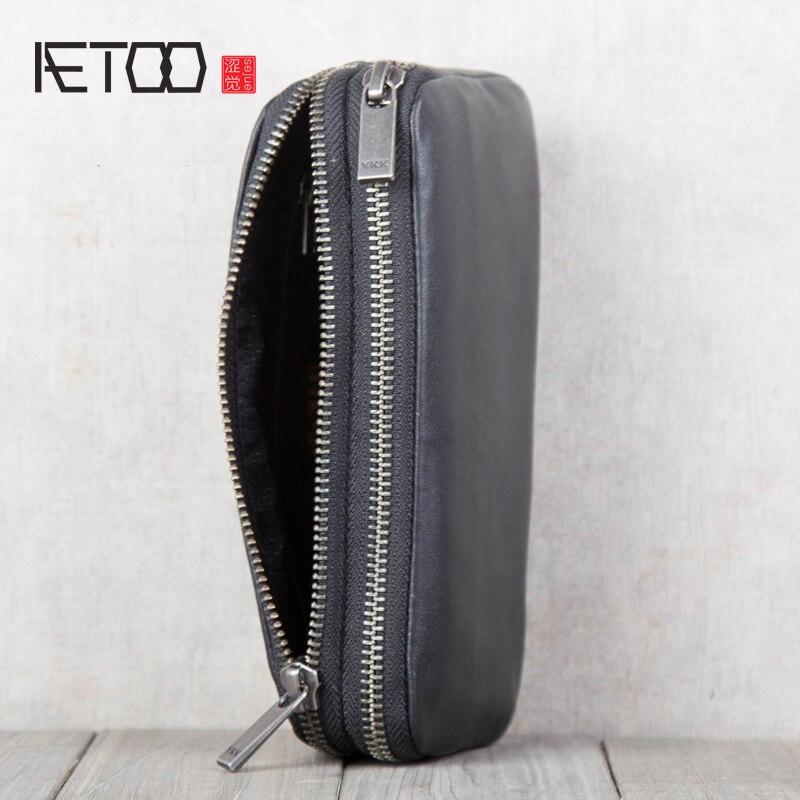 AETOO Handmade Leather Long Wide Wallet Head Cowhide Handbag Bag