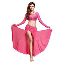 Najnowszy Moda placketing Sexy taniec Brzucha ubrania z długim rękawem 2 sztuk zestaw dla kobiet/kobiet/dziewczyna, kostium gypsy zużycie wydajność