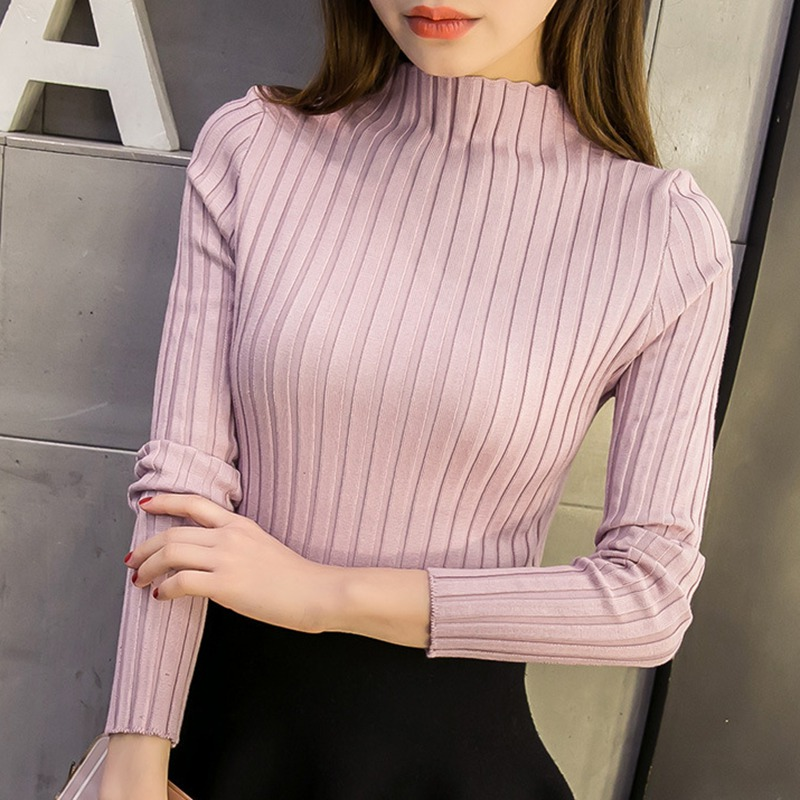 autum women ladies long sleeve turtleneck slim fitting knitted thin sweater top femme  korean pull tight casual shirts H9