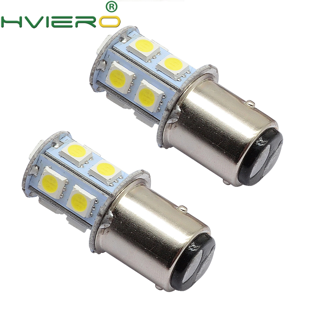 2X White 1156 BA15S 1157 BAY15D BA15D 13Led 5050 Auto Led Turn Signal Lights Brake Tail Lamps Auto Led Rear Reverse Bulbs DC 12V