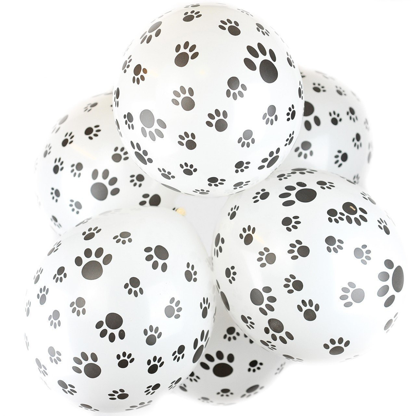 100pcs Black Dog Paws Ballonnen Latex Ball Bare Footprint Dot Printed Thicken Air Balloons Birthday Party Decorations Supplies in Ballons Accessories from Home Garden
